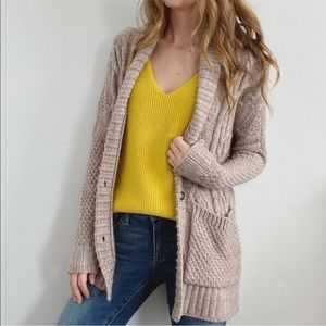 AE Oversized Oatmeal Chunky Knit Cardigan Sweater
